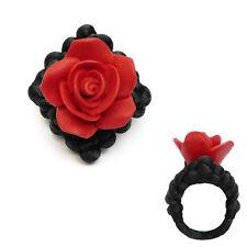 Bague macramé cordon satin Noir Rose en fimo Rouge fleur TAILLE 48 50 52 54 56