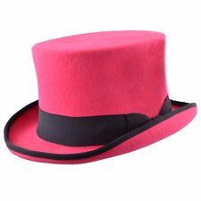 High Quality Hand Made Pink/Black 100%Wool Top Hat Felt Wedding Ascot Hat