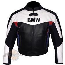 Bianchi e Neri BMW 3878 Moto Biker Giacca in pelle Moto Rinforzato Copertura