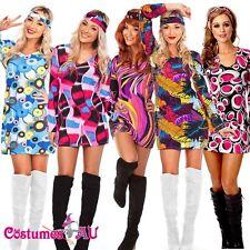 1960s 1970s 60s Retro Hippie Girl Disco Dancing Costume Groovy Hens Fancy Dress