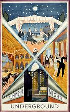London Underground Summer Nights 1930 repro vintage travel poster