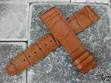 21mm IWC Brown Croco Grain LEATHER STRAP Watch Band Brown Stitch TOP GUN PILOT