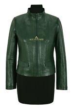 VICTORIA Ladies Jacket Green Casual Cool Flight Coat Genuine Leather Jacket