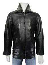 New Men Black Classic Biker Leather Napa Blazer Long Fur Jacket Bike Rock