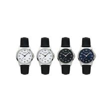 ADORA Damenuhr Armbanduhr Lederband schwarz Edelstahlgehäuse in Silber, 5 bar