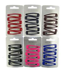 6 x cheveux Snap CLIPS barrettes glissières 4.5cm ECOLE COULEURS, choix