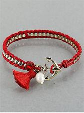 Goldtone Leatherette Anchor Tassle Bracelet