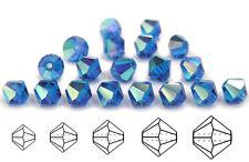Czech MC Glass Bicone Beads (Rondell/Diamond) Capri Blue AB coated