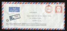 CYPRUS REGISTERED METER FRANKING AIRMAIL NICOSIA POPULAR BANK ENVELOPE 1972