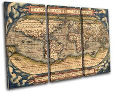Old World Atlas Latin Maps Flags TREBLE CANVAS WALL ART Picture Print VA