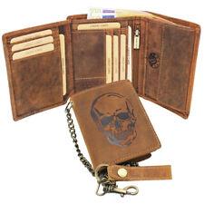Men's Leather Wallet Purse Purse Wallet Buffalo Leather Skull Braun