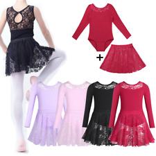 Girls Kids Ballet Lace Leotard Dress Toddler Gymnastic Leotards+Skirt Dancewear