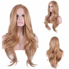 Natural light strawberry blonde auburn long thick layer wavy women full hair wig