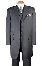 """Men's 3pc Fancy Poly Stripe Suit 5 Button 37"""" Length Jacket w/ Vest #29198"""