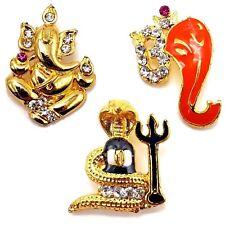 Shivling Lingam Pendant Trishul Ganesh Om Necklace Pendant Gold Plated CZ Stone