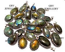 Multi Fire Labradorite Gemstone Pendants Wholesale Lots 925 Silver Overlay