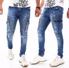 Herren Jeans Hose Slim Fit Men´s Wear Destroyed Risse ZIP W29 30 31 32 33 34 36