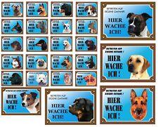 """Warntafel """"Hier wache ich"""" Hunde Warnschild 20x14 cm Außenbereich 25 Hunderassen"""