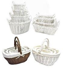 White Shabby Chic Wicker Kitchen Crafts Home Storage Hamper Basket With Handle