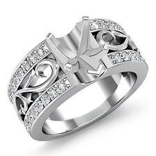 Natural Diamond Wedding Filigree Ring 14k White Gold 0.55Ct Heart Semi Mount
