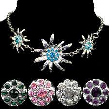 EDELWEISS Collier 3 Blumen Halskette Kette Trachten Dirndl Trachtenschmuck NEU