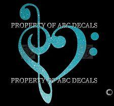 VRS Bass Treble Clef Heart SINGLE PIANO STICKER GUITAR METAL DECAL