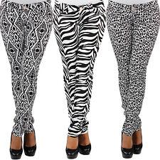 Damen Röhrenhose Stretch Hüfthose Jeans Zebra Leoparden Muster Skinny Slim Fit