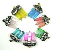 Pave Spike Crystal Pendant, Natural Quartz Titanium Crystal, Tri Stone Pendant
