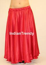 Red - Satin Full Circle Skirt Belly Dance Costume Gypsy Tribal 9 Yard Flamenco