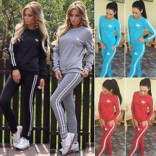 2Pcs Womens Tracksuit Set Sweatshirt Top Track Pants Trousers Suit Ladies Jogger