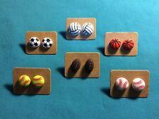 SPORTS Softball Baseball Basketball Volleyball Soccer balls Stud Post Earrings