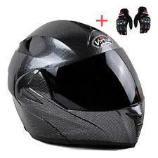 Bluetooth Motorcycle Helmet Modular Flip Up Full Face Dual Visor Carbon Fiber
