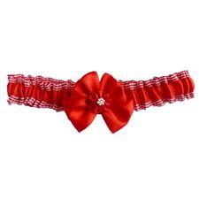 Jarretière mariage satin Rouge carreau vichy noeud petite à grande taille