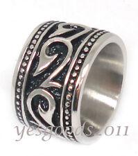 USA Seller 14MM Vintage Silver Stainless Steel Biker Ring Size 8-13 SR69
