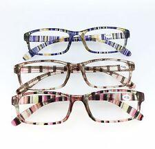 P417 Classic Rectangle Reading Glasses - Multi Colour Purple Red Checked Tartans