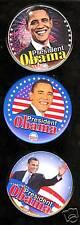 3 President Barack OBAMA campaign pins 3inch 2008  pinback button