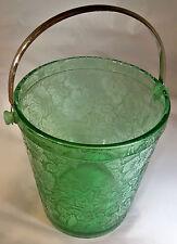 FOSTORIA PARADISE BROCADE GREEN #2378 ICE BUCKET w/NICKEL PLATED BAIL HANDLE!