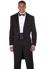 Men's 2pc Long Tail Tuxedo Poly Gabardine Suit T505 Black and White