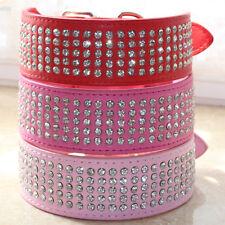 2 inch wide 5 rows Rhinestone Diamante Crystal Jeweled Leather Pet Dog Collars