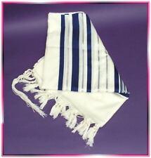 Scialle Preghiera Ebraico Tallit Lana Blu Argento S50