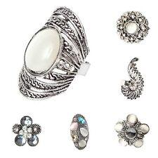 Anillo de acero inoxidable pedrería perlas bisutería de lujo One Size
