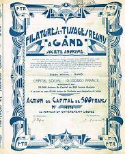 BELGIUM SPINNING & WEAVING MILLS OF GAND stock certificate 1929