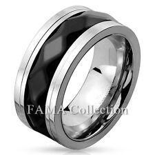 FAMA Stainless Steel 2 Tone Diamond Pattern Black IP Spinner Ring Band Size 9-13