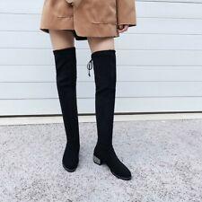Women High Square Block Heel Round Toe Over The Knee Rhinestone Fashion Boots