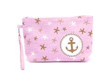 "9.5"" x 6"" Anchor Print Makeup Cosmetic Pouch Bag w/ Wrist Strap"