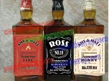 Personalised Bottle Label Whiskey Jack Daniels Inspired Black & HoneyOR  Fire