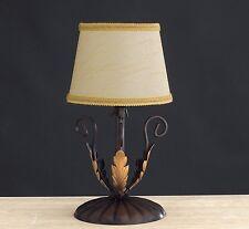 Lumetto lampada appoggio classico ferro battuto paralumi foglie oro arte povera