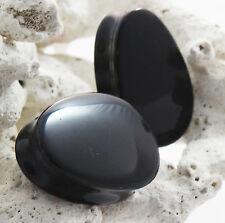 Pair of Black Onyx Organic Double Flared Teardrop Stone Ear Plugs Gauges 16-35mm