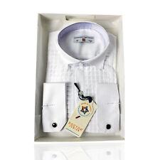 Garçons Premium Aile Col Carré plissé blanc boutons de manchette Chemise Enfants Chemises