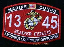 MOS 1345 US MARINE ENGINEER EQUIPMENT OPERATOR HAT PATCH MARINES FMF VETERAN
